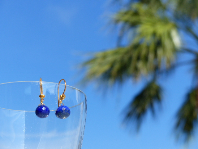 Lapis Lazuli Onion Earrings