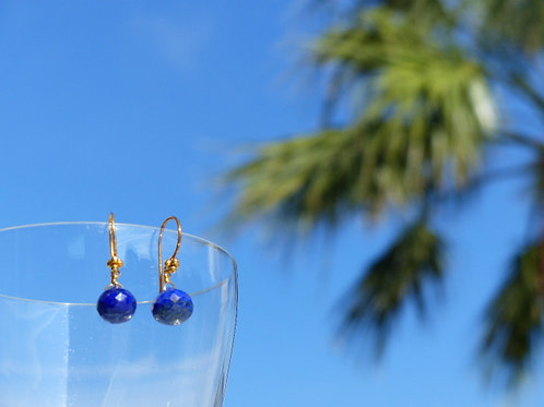 Lapis Lazuli Earrings on Vermeil Earwires