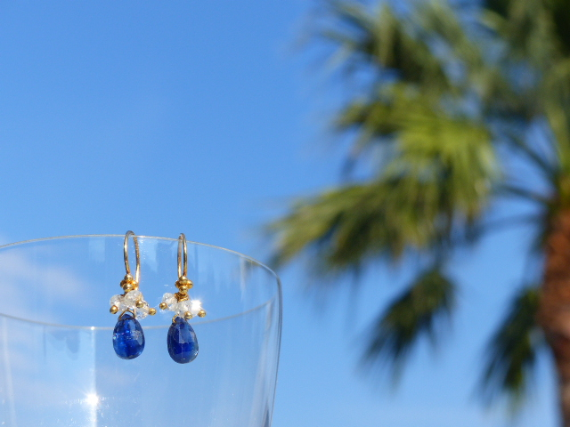 Blue Kyanite + White Topaz Earrings