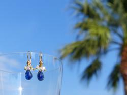 Blue Kyanite + White Topaz Earrings
