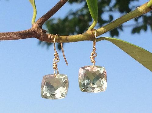 Green Amethyst Cabochon Earrings