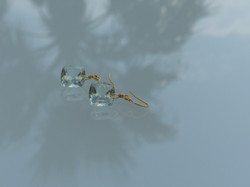 Green Amethyst Square Cabochon Earrings