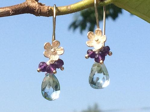 Blue Topaz and Amethyst Silver Flower Earrings