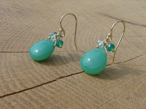 Smooth Green Onyx Earrings topped with White Topaz and Green Onyx