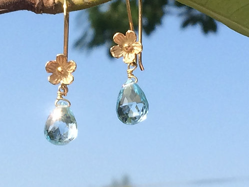 Blue Topaz and Vermeil Flower Earrings