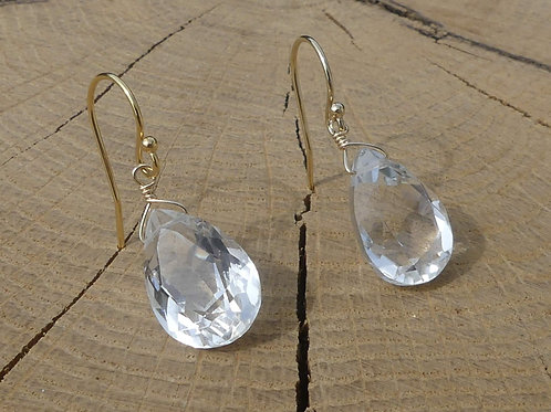 Faceted Rock Crystal Cabochon Earrings
