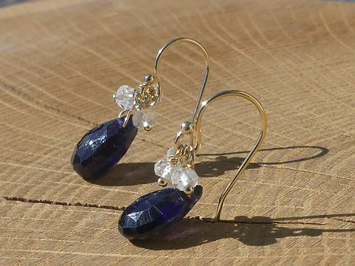 Iolite Earrings topped with White Topaz