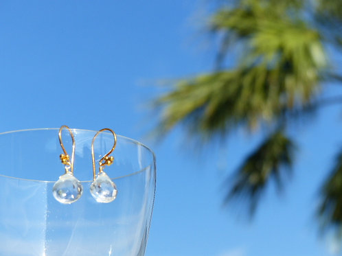 Rock Quartz Earrings on Vermeil Earwires