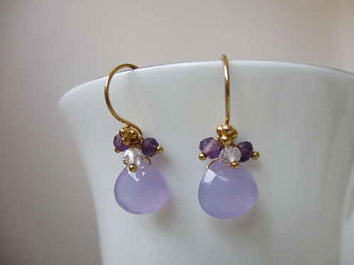 Beautiful Lilac Chalcedony Earrings with Amethysts and White Topaz