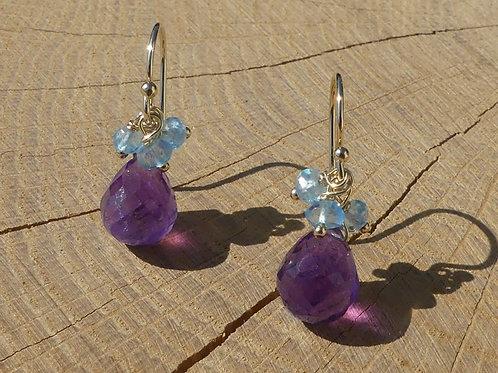 Amethyst Drop Earrings with Blue Topaz
