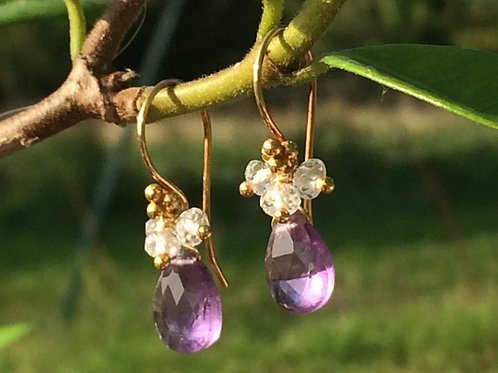 Amethyst & White Topaz Earrings