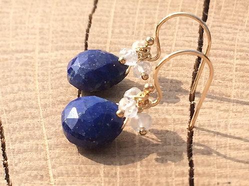 Lapis Lazuli & White Topaz Earrings
