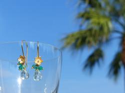 Green Amethyst + Green Onyx Earrings