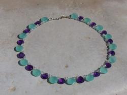 Aqua Blue Chalcedony + Amethyst Necklace