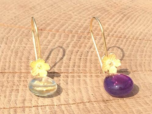 Amethyst & Green Amethyst Smooth Drop Earrings - Flowers