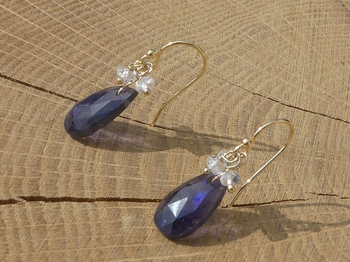 Faceted Iolite Earrings topped with White Topaz