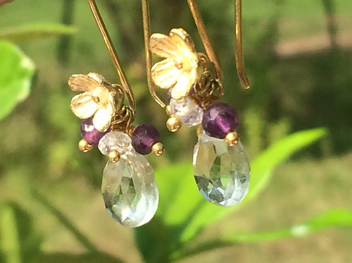 Beautiful Green Amethyst with Amethyst and White Topaz Earrings
