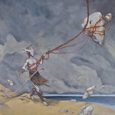 """""""Rock fishing"""" acrylics on canvas 2015"""