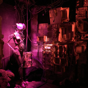"Roboter made for Corpus Delicti & Francois Boulanger ""Dazwischen"" record release event  mannequin, cables, foam plates, div found materials displayed within the installation which was a collaboration work in the basement at Restaurant Hirscheneck, Basel 2019"