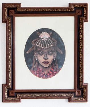 """""""Lady of The Weird Islands"""" crayons on paper,  antique frame & passepartout 2018"""