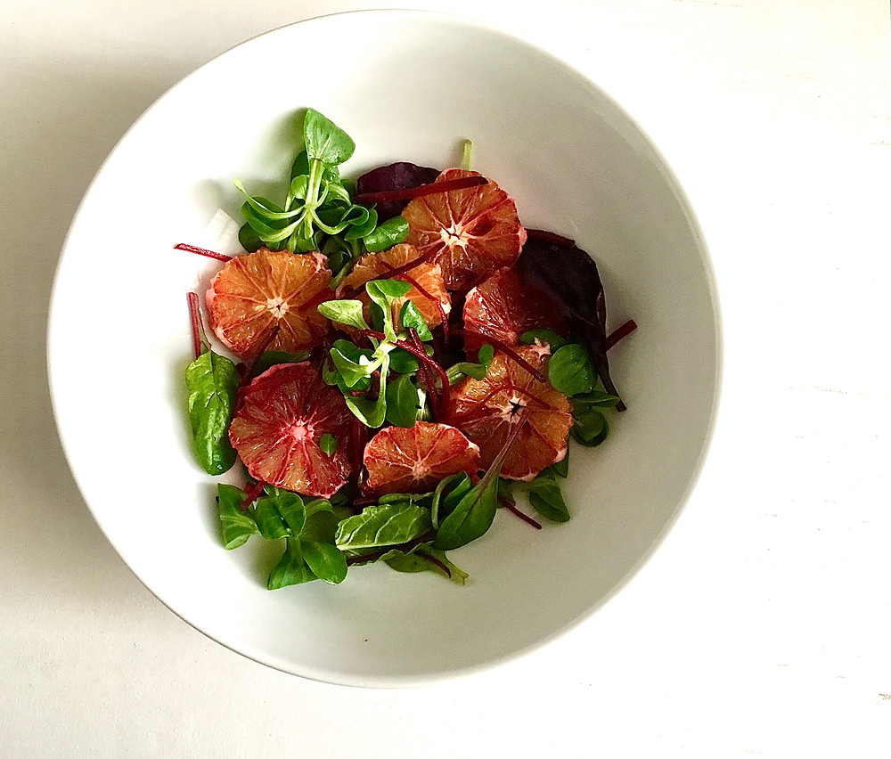 Blood Orange Salad with Tahini and Blood Orange Dressing