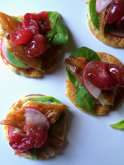 Smoked mackerel with gooseberry and camomile compote