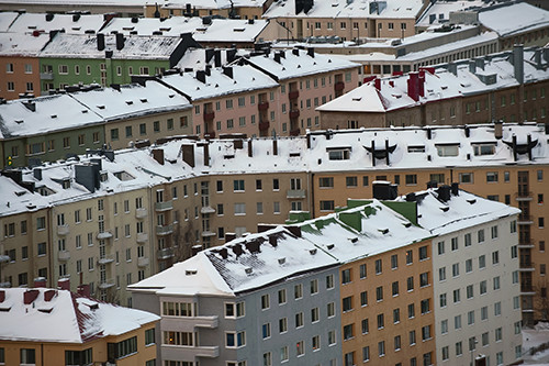 Helsinki rooftops covered in snow