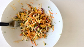 Kohlrabi slaw with samphire and mango