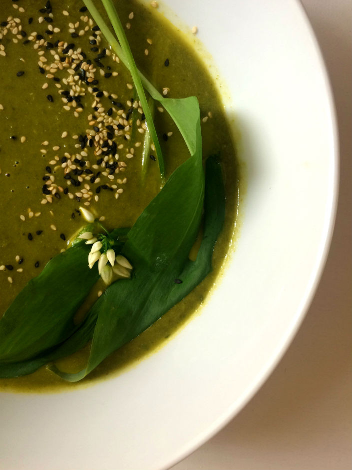 Spring greens soup with wild garlic, ginger and coconut