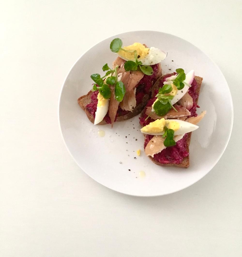 Beetroot and Smoked Mackerel Open Sandwich