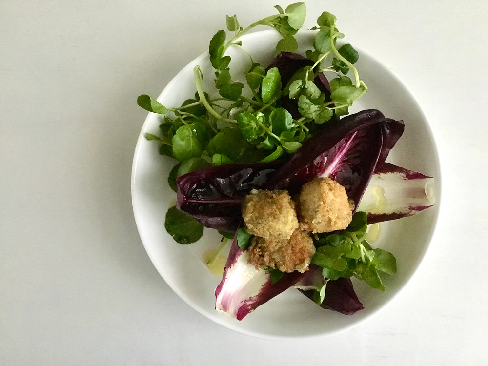 Watercress and chicory salad with fried stilton and marmalade dressing