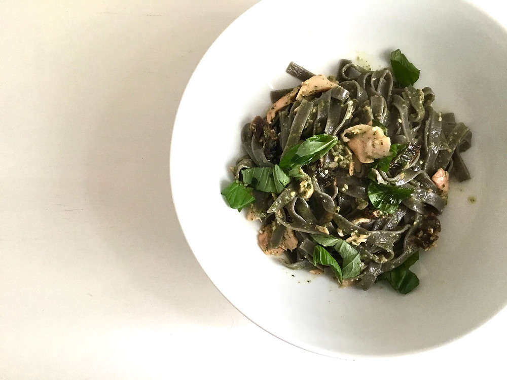 Squid Ink Pasta with Smoked Salmon, Sundried Tomatoes and Rocket Pesto