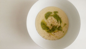 Parsnip, White Bean and Lemon Soup with Basil and Walnut Pesto