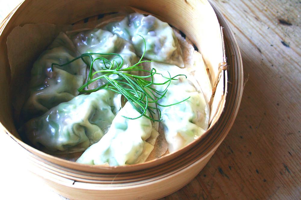 dumplings in a steamer