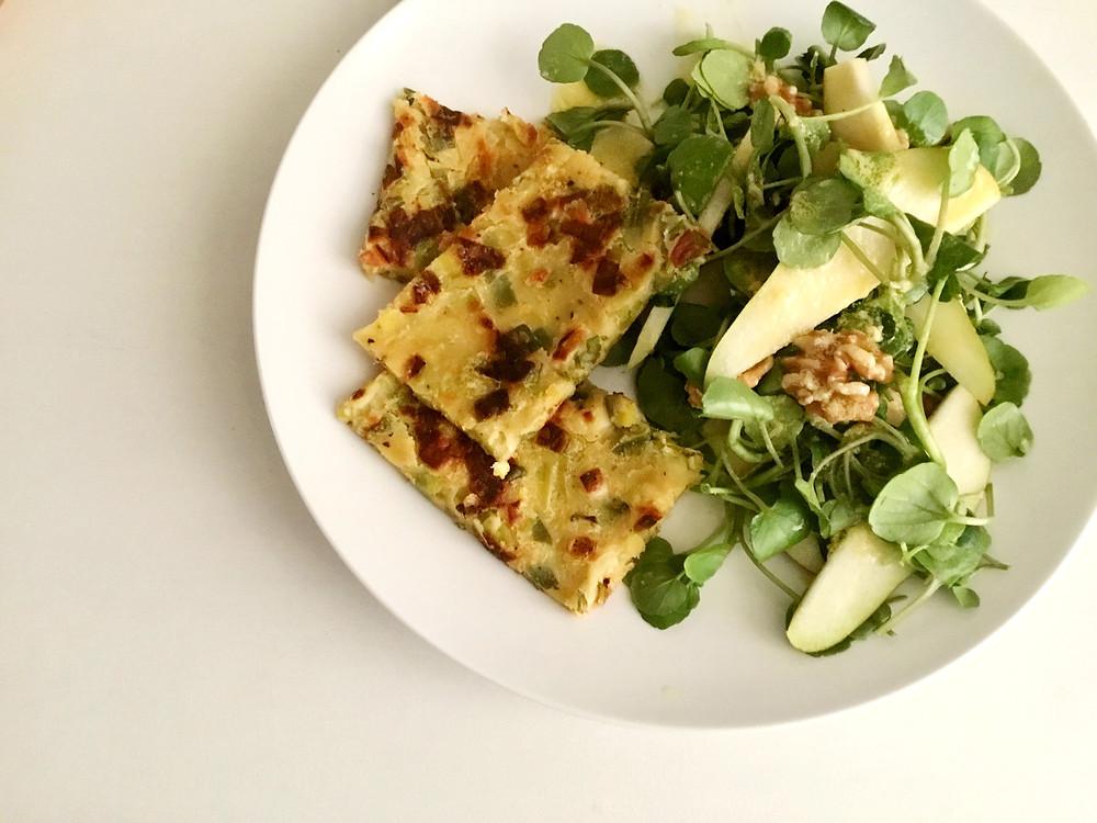 Leek farinata with winter salad