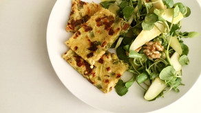 Leek farinata and winter salad