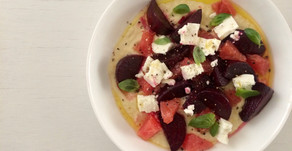 Beetroot, grapefruit and feta on a bed of cannellini smash