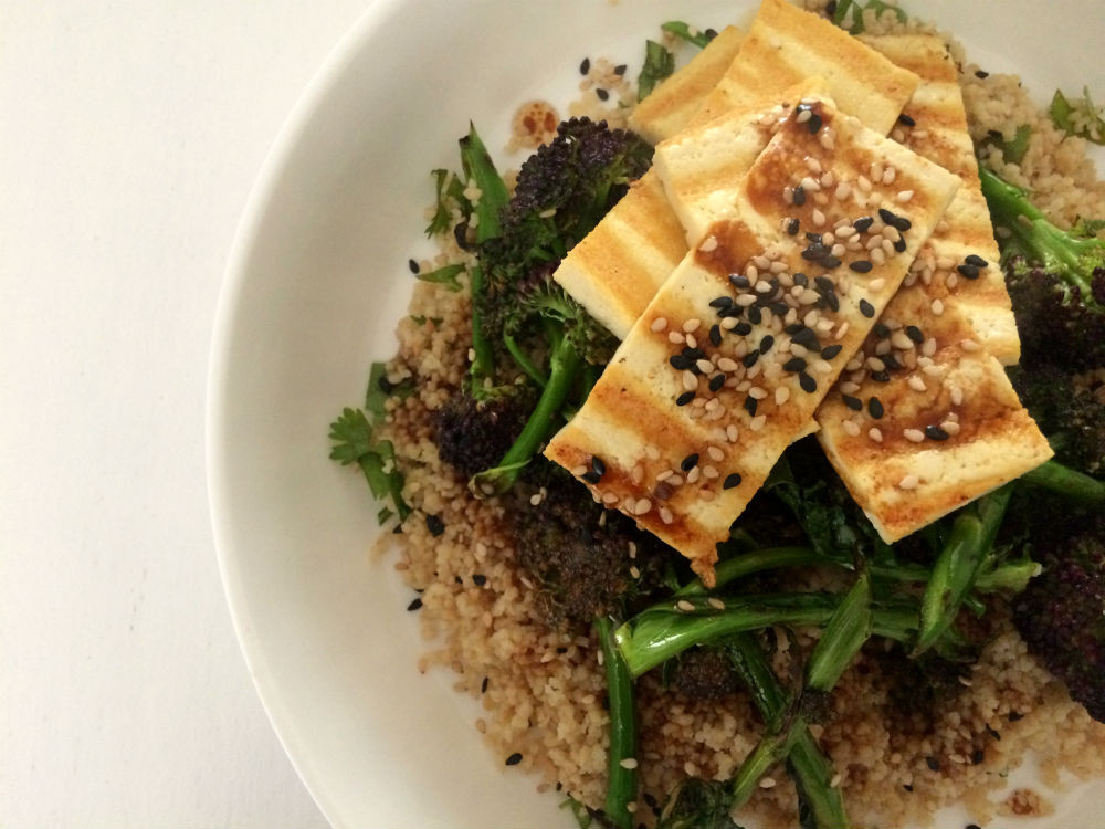 Purple sprouting broccoli and tofu with miso dressing