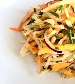 Kohlrabi slaw with samphire and mango