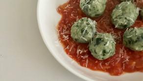 Spinach Malfatti with Tomato Sauce
