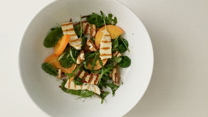 Winter Salad: Persimmon, Haloumi and Leaves