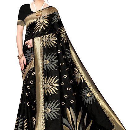 PAGAZO Women's Gold Colour Checkered Jacquard Sari