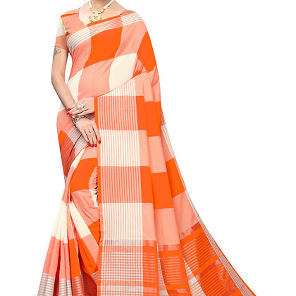 PAGAZO Women's Red Colour Checkered Cotton Blend Sari