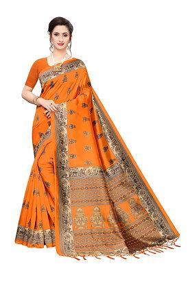 PAGAZO Women's Orange Colour Printed Art Silk Sari