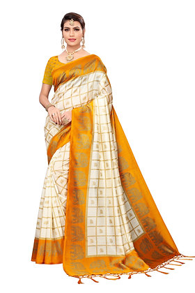 PAGAZO Women's Mustard Colour animal print Art Silk Sari