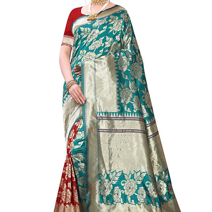 Astonban For Women Light Green Colored Floral Print Jacquard Saree