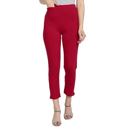 Murat For Women Cotton Lycra Blend Red Color Kurti Pants