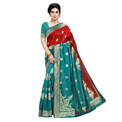 Astonban For Women Light Green Colored Embellished Jacquard Saree