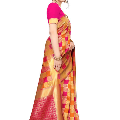PAGAZO Women's Black Colour Floral Print Jacquard Sari