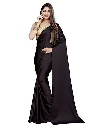 PAGAZO Women's Black Colour Plain Satin Blend Sari